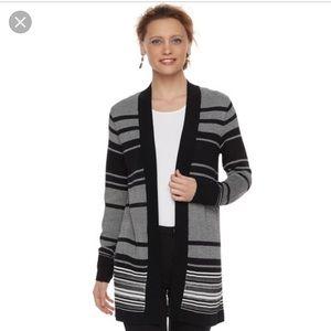 Black & White Striped Cardigan L EUC